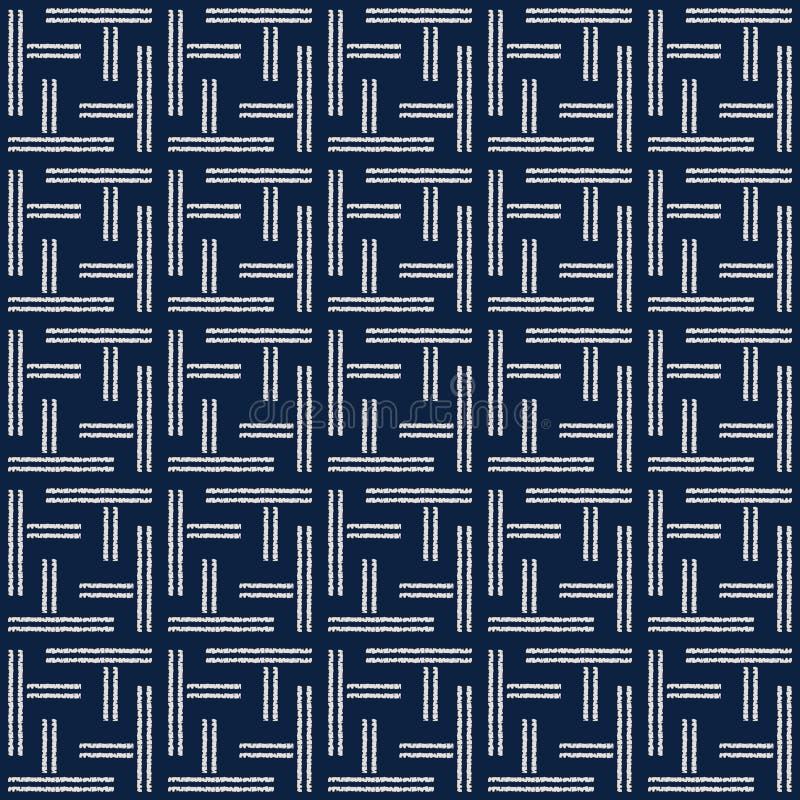 Het abstracte naadloze patroon van indigoshibori met ikatdruk van mozaïek vector illustratie