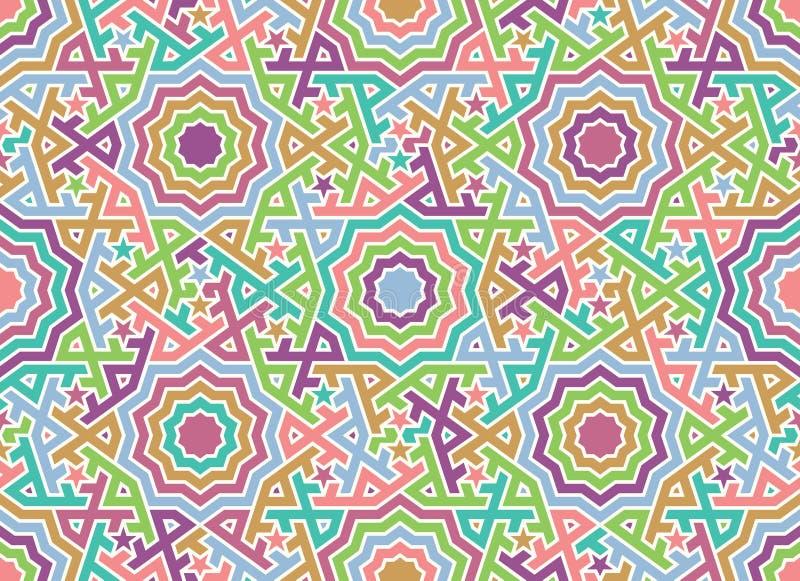 Het abstracte Naadloze Patroon van Marokko Traditionele Arabische Islamitische Achtergrond royalty-vrije illustratie