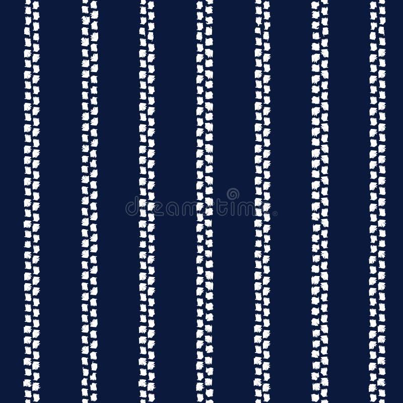 Het abstracte naadloze vectorpatroon van indigoshibori met ikatdruk stock illustratie