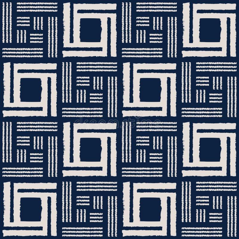Het abstracte naadloze vectorpatroon van indigoshibori met ikatdruk van mozaïek vector illustratie