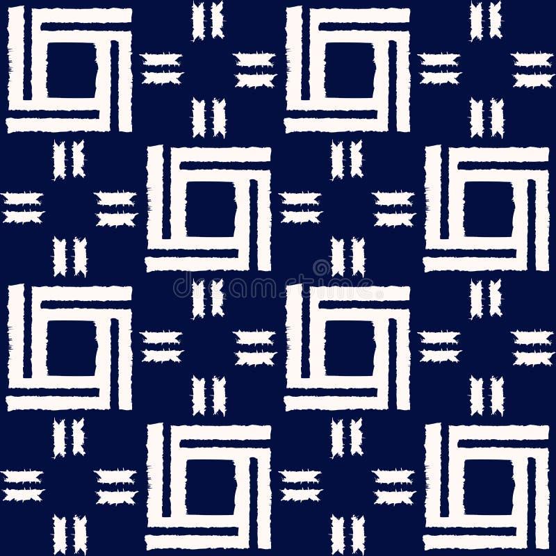 Het abstracte naadloze vectorpatroon van indigoshibori met ikatdruk van mozaïek royalty-vrije illustratie