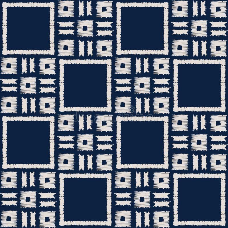 Het abstracte naadloze vectorpatroon van indigoshibori met ikatdruk van mozaïek stock illustratie
