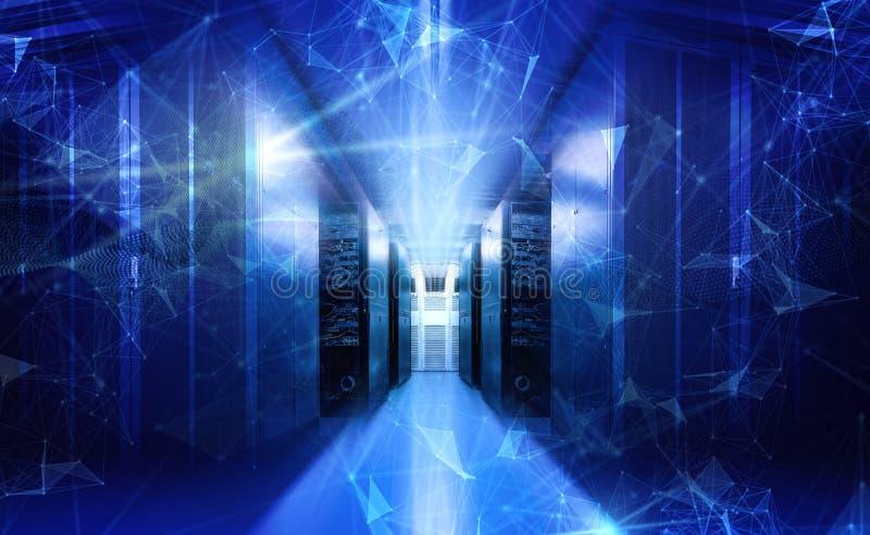 Het abstracte het neon blauwe visualisatie van technologie grote gegevens 3d teruggeven stock fotografie