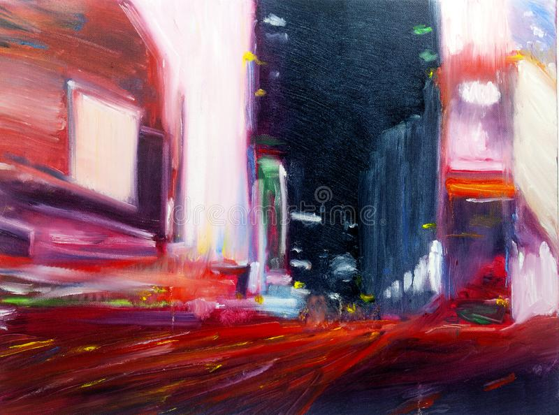 Het abstracte olie moderne eigentijdse stedelijke cityscape schilderen stock foto's