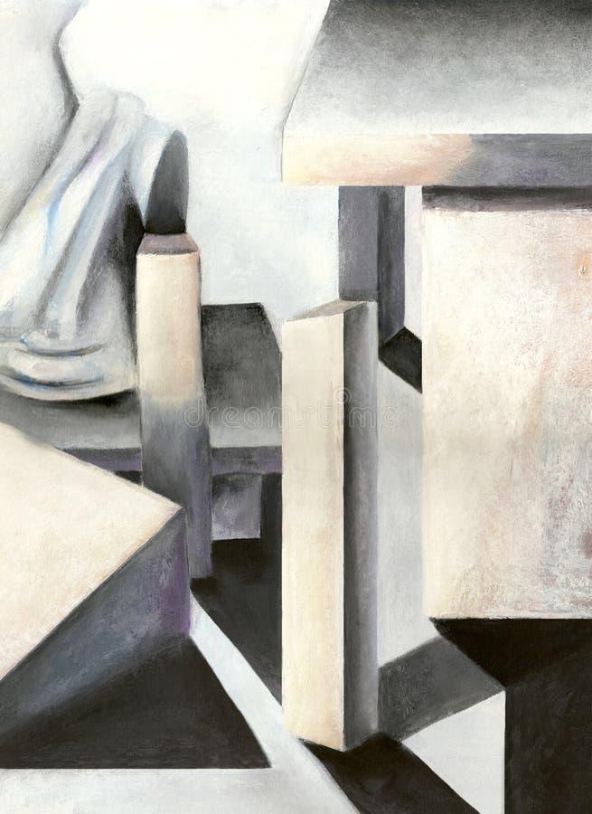 Het Abstracte Olieverfschilderij van de pastelkleur stock illustratie