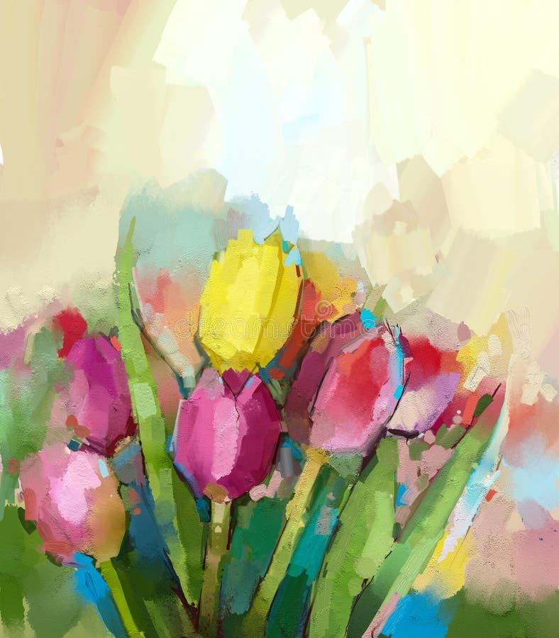 Het abstracte olieverfschilderij van tulpenbloemen royalty-vrije illustratie