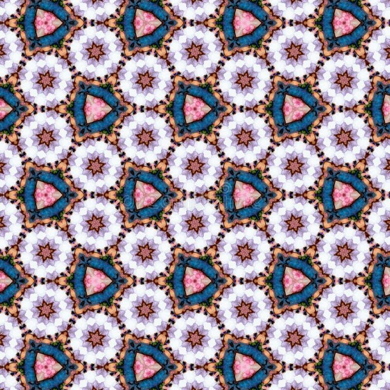 Het abstracte ononderbroken tegelpatroon met madeliefjes, driehoek camomiles, effect document bloeit royalty-vrije illustratie