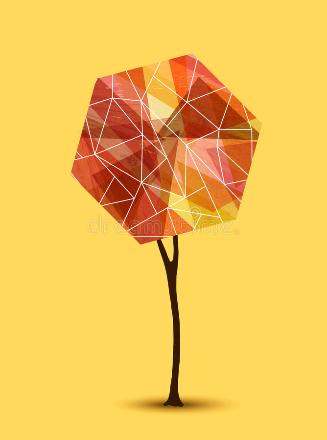 Het abstracte ontwerp van de boom geometrische illustratie stock illustratie