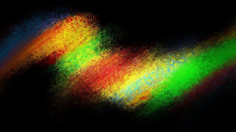 Het abstracte ontwerp van de kleurenplons op zwarte met het gloeien trillende kleuren van rode gele blauw en groen op zwarte acht royalty-vrije illustratie