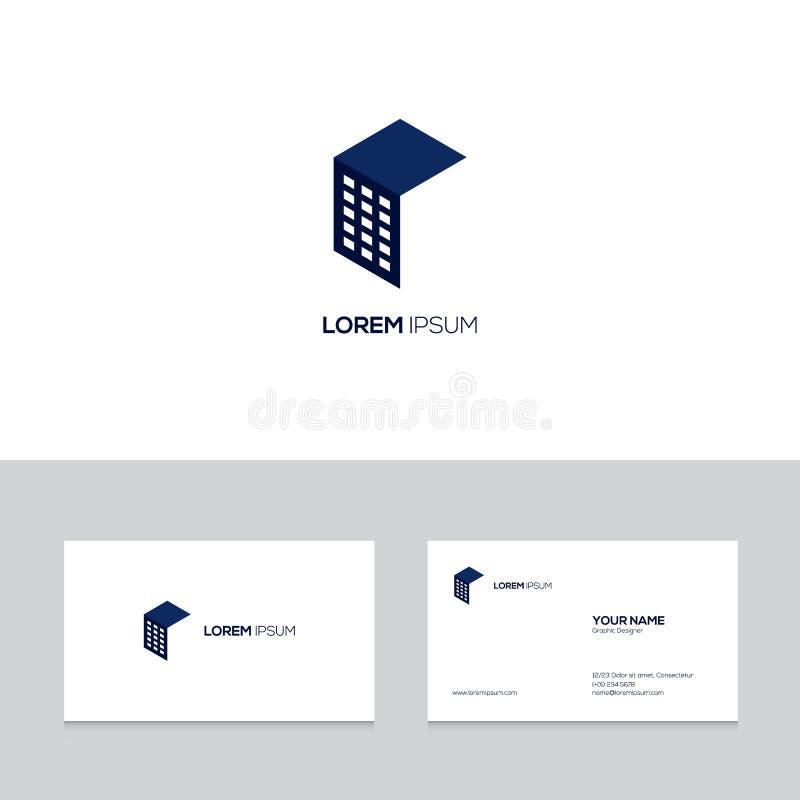 Het abstracte ontwerp van het onroerende goederenembleem op adreskaartjemalplaatje vector illustratie