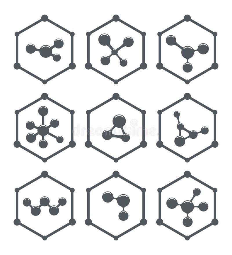 Het abstracte ontwerp van moleculepictogrammen royalty-vrije illustratie