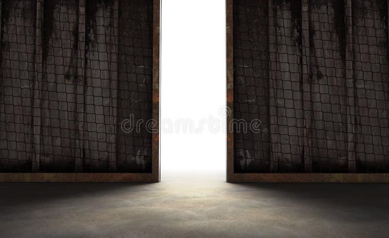 het abstracte openen in muur met helder daglicht in concrete interi stock foto's