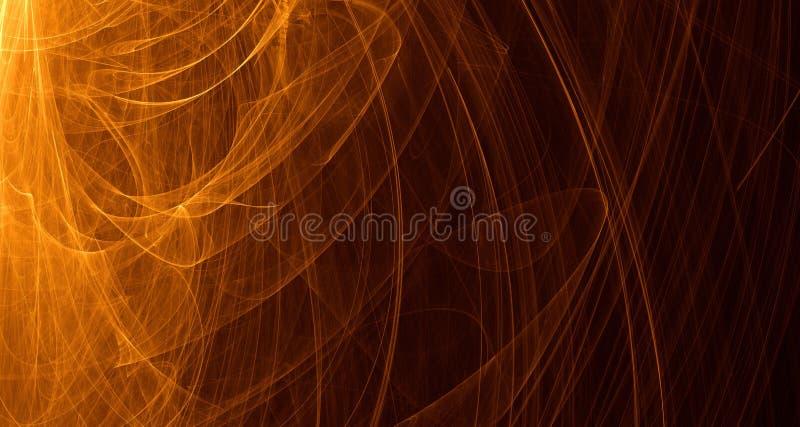 Het abstracte oranje, gele, gouden licht gloeit, stralen, vormen op donkere achtergrond vector illustratie