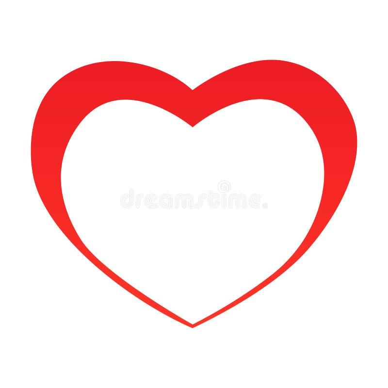 Het abstracte overzicht van de hartvorm Vector illustratie Rood hartpictogram in vlakke stijl Het hart als symbool van liefde stock illustratie