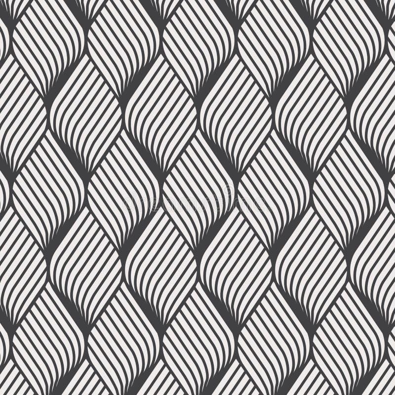 Het abstracte patroon van de bloemrimpeling Het herhalen van vectortextuur Golvende grafische achtergrond Eenvoudige geometrische royalty-vrije illustratie