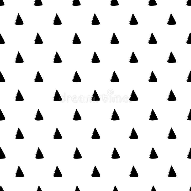 Het abstracte Patroon van de Driehoek Getrokken hand Naadloos patroon monochr royalty-vrije illustratie