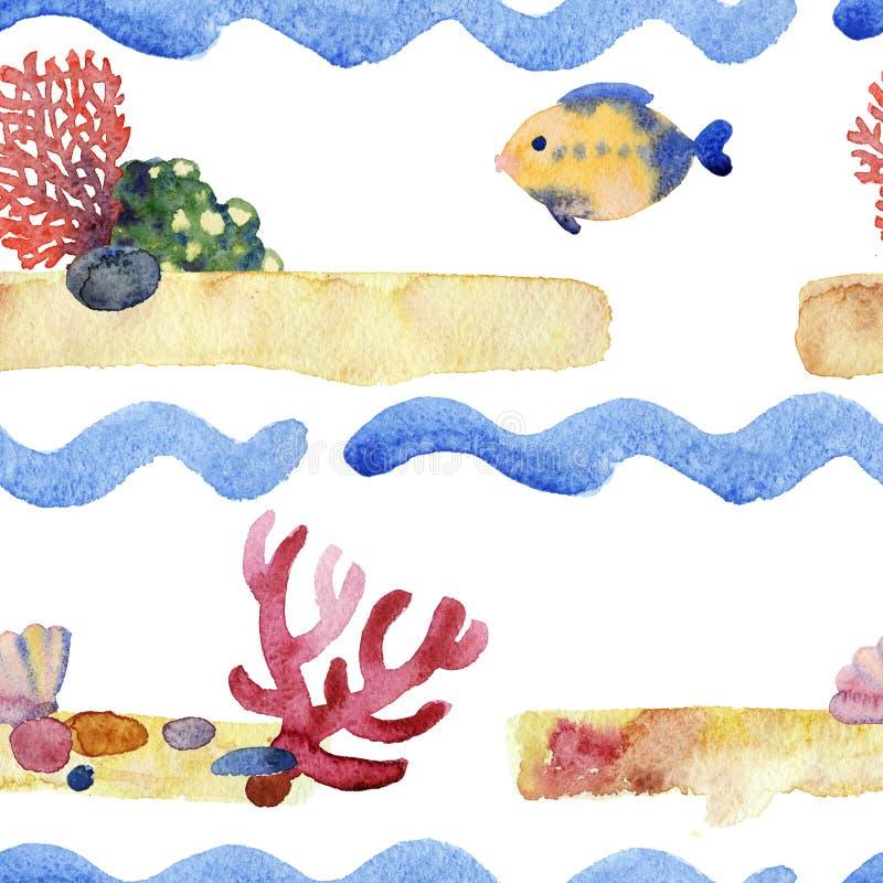 Het abstracte patroon van de waterverf blauwe golf vector illustratie