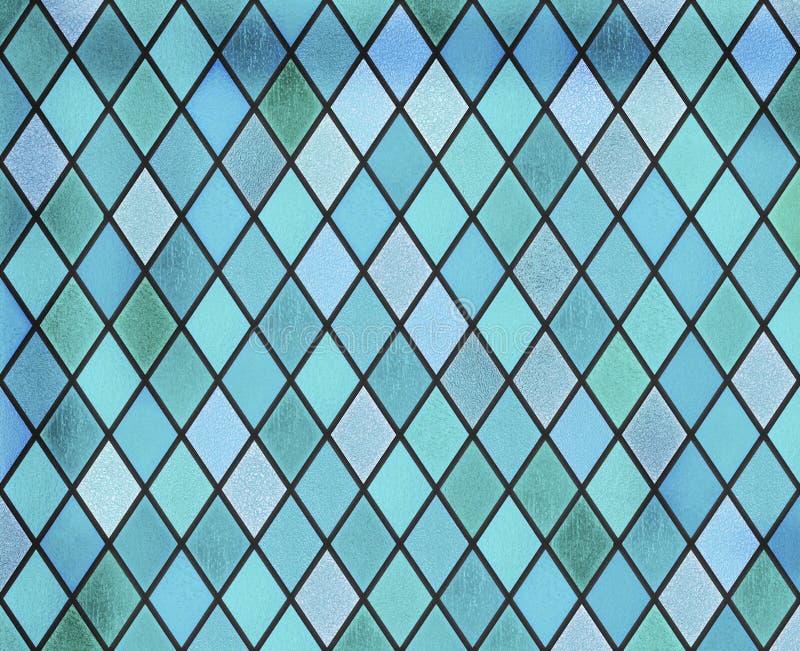 Het abstracte patroon van het gebrandschilderd glas blauwe venster royalty-vrije illustratie