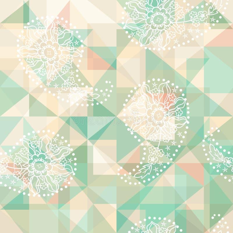 Het abstracte patroon van Paisley op geometrische achtergrond vector illustratie
