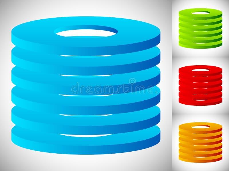 Het abstracte pictogram van cilinder/vat in kleur 3 Gestapelde ringen vector illustratie