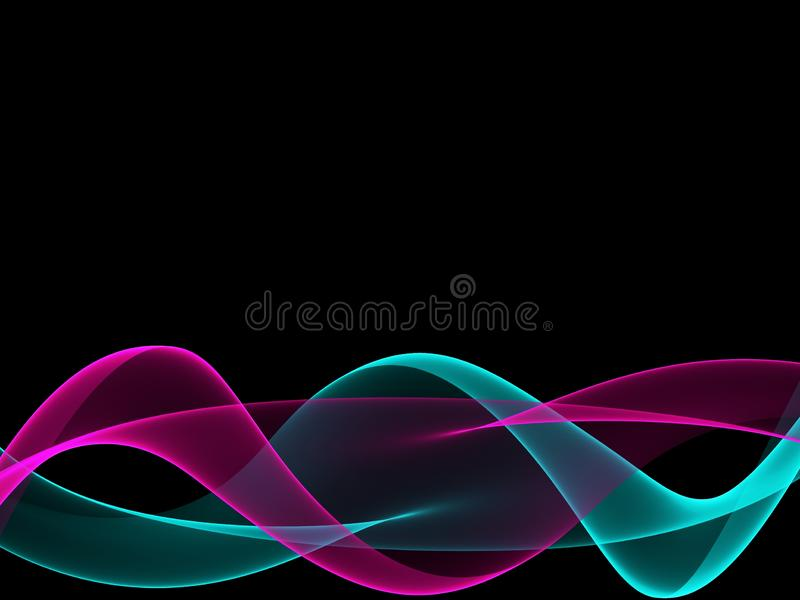 Het abstracte purpere en groene element van het de golvenontwerp van de neonkleur bij zwarte achtergrond royalty-vrije illustratie