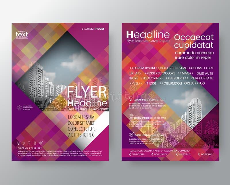 Het abstracte purpere en roze diagonale mede jaarverslag van de lijnbrochure vector illustratie