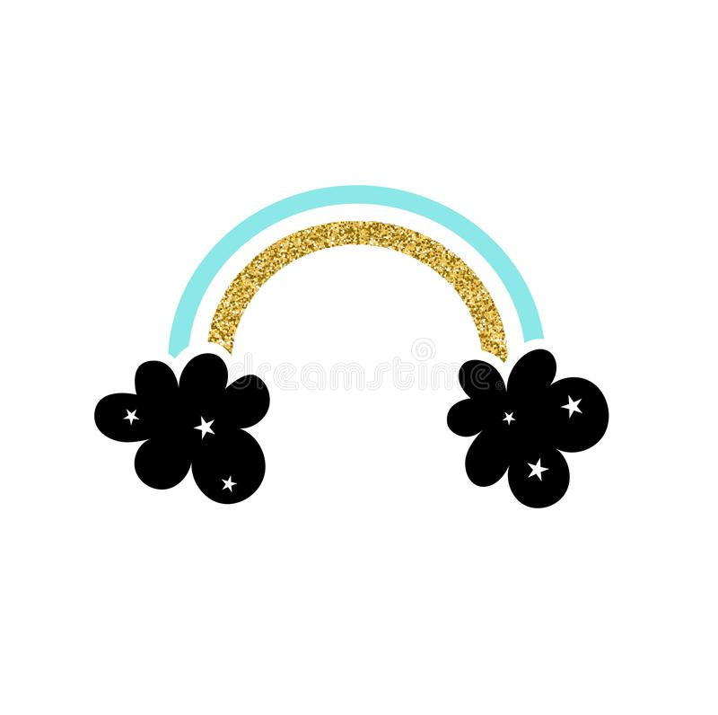 Het abstracte regenboog vectorpictogram met schittert De eenhoornflard van de manier leuk regenboog blauwe kleur en goud De vecto stock illustratie