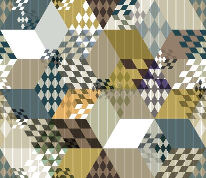 Het abstracte retro geometrische naadloze patroon van stijl 3d kubussen stock illustratie