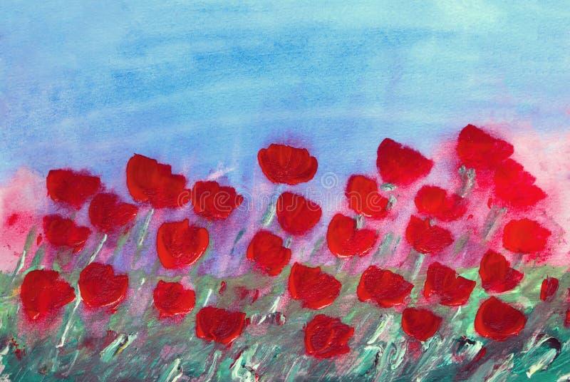 Het abstracte rode bloemen schilderen stock illustratie