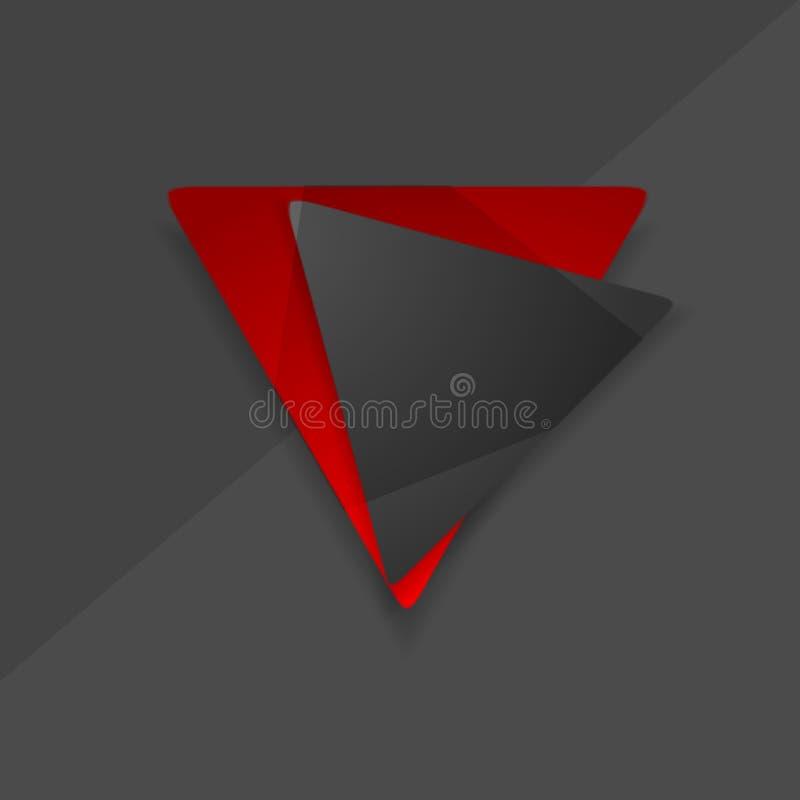 Het abstracte rode zwarte embleem van driehoeksvormen vector illustratie