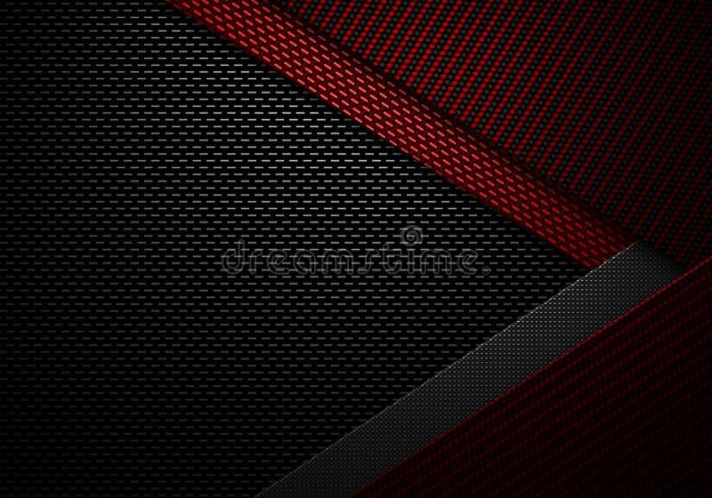 Het abstracte rode zwarte geweven materiële ontwerp van de koolstofvezel vector illustratie