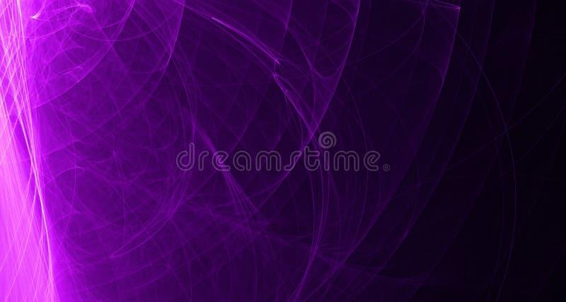 Het abstracte roze en purpere licht gloeit, stralen, vormen op donkere achtergrond royalty-vrije illustratie
