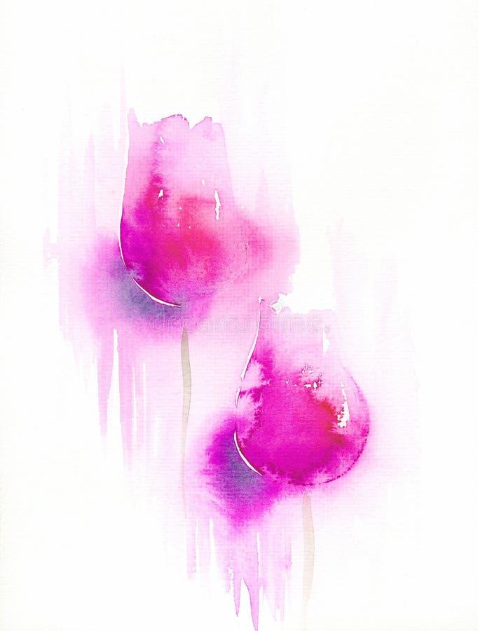 Het abstracte roze tulpenwaterverf schilderen op wit royalty-vrije illustratie