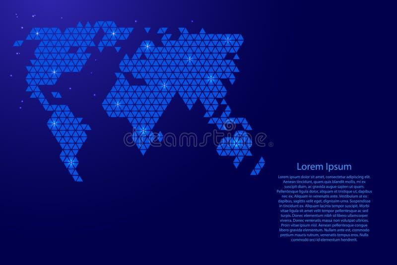 Het abstracte schema van de wereldkaart van blauwe driehoeken die patroon geometrische achtergrond met knopen en ruimtesterren vo stock afbeelding