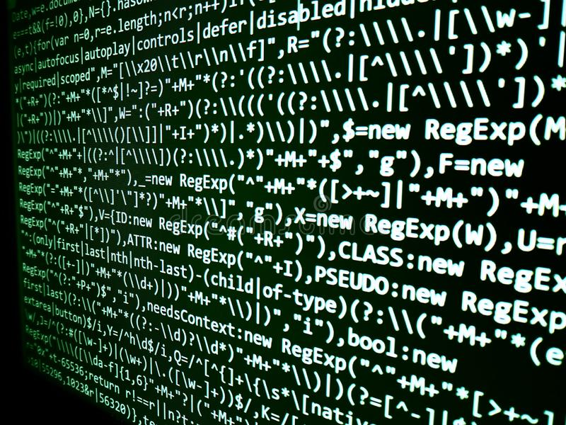 Het abstracte scherm van de programmeringscode van softwareontwikkelaar Computer royalty-vrije stock fotografie