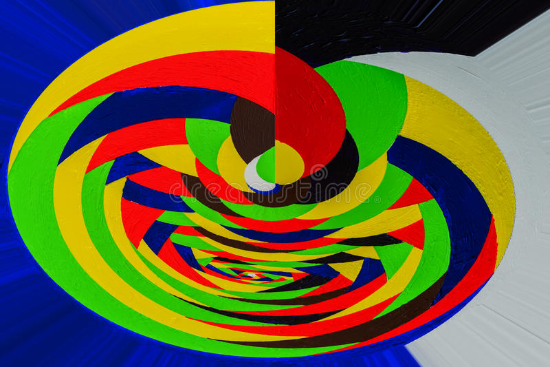 Het abstracte schilderen gemaakt op basis van hand-drawn acrylgraffiti, textuur Het verdraaien, roterende veelkleurige lijnen stock fotografie