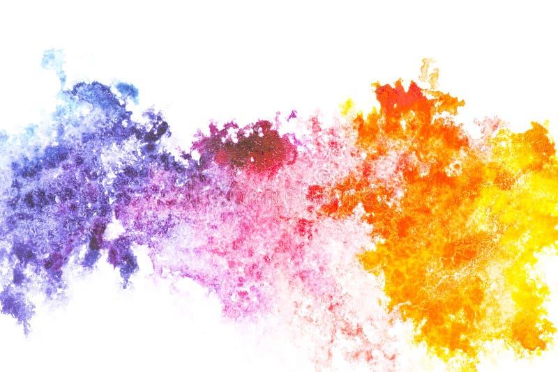 Het abstracte schilderen met de kleurrijke vlekken van de waterverfverf stock fotografie