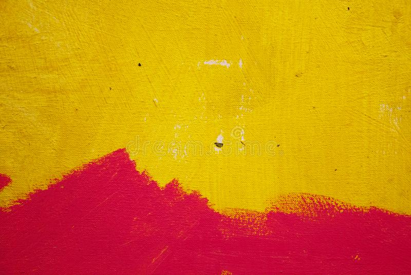 Het abstracte schilderen Het schilderen met oliën op canvas voor de achtergrond van een belangrijke slag Gele inkt royalty-vrije stock foto