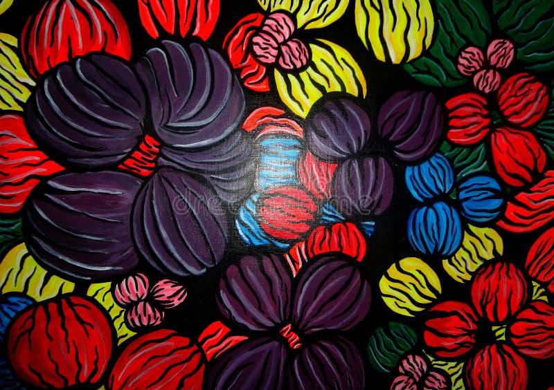 Het abstracte schilderen op canvas gecreeerd ontwerp als achtergrond stock afbeelding