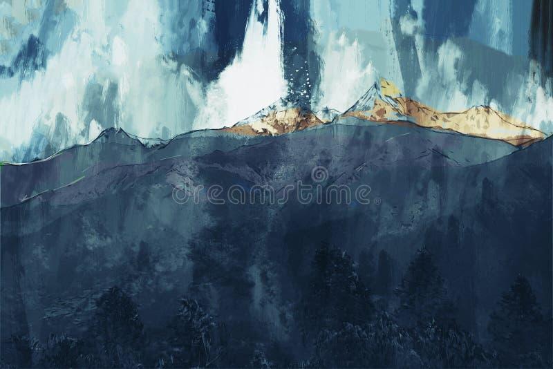 Het abstracte schilderen van bergen in donkere toon, het Digitale schilderen royalty-vrije illustratie