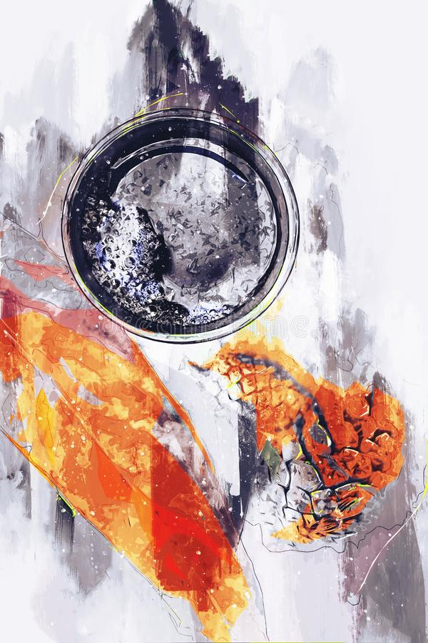 Het abstracte schilderen van koffiemok, blad en denneappels, digitale het schilderen illustratie stock fotografie