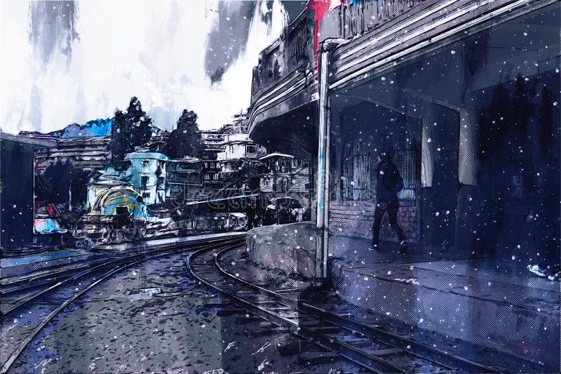 Het abstracte schilderen van uitstekend station, het digitale schilderen vector illustratie