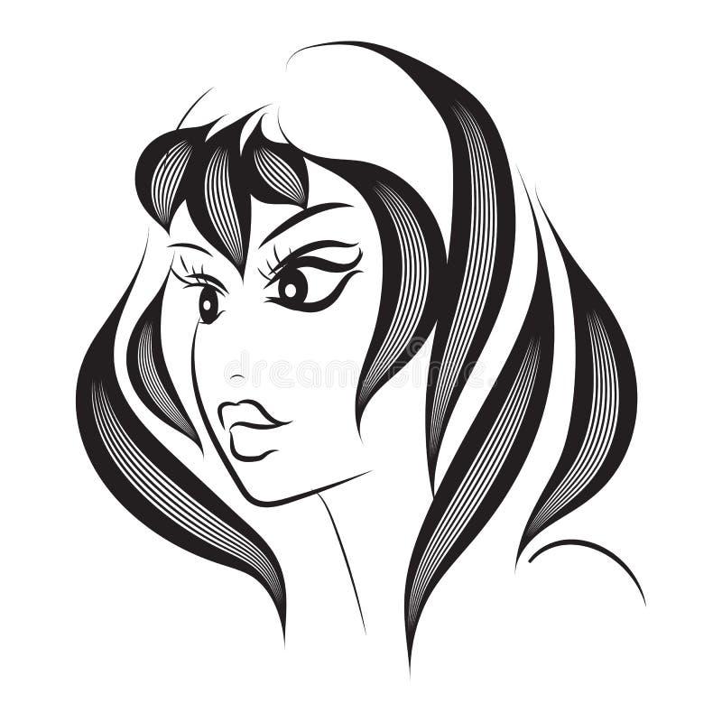 Het abstracte silhouet van het vrouwengezicht Het ontwerp van de kapselmanier De kunstgezicht van de inktlijn op de witte achterg vector illustratie