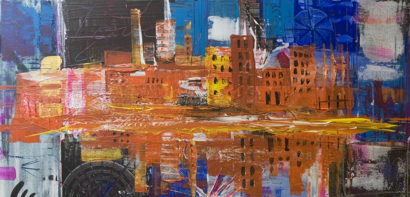 Het abstracte stad schilderen vector illustratie