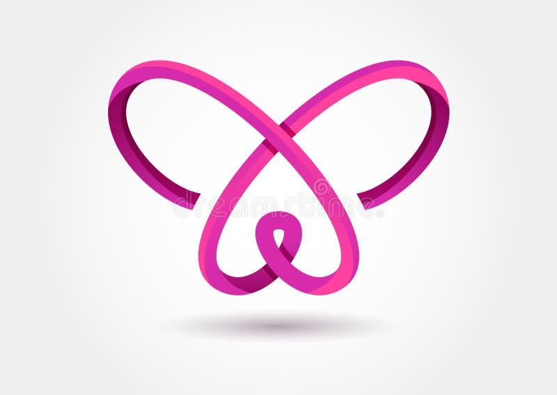 Het abstracte symbool van de oneindigheidsvlinder Vectorembleemmalplaatje Ontwerp