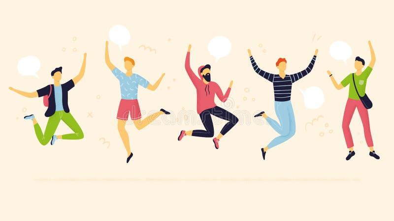 Het abstracte teamleden springen Vlak Ontwerp vector illustratie