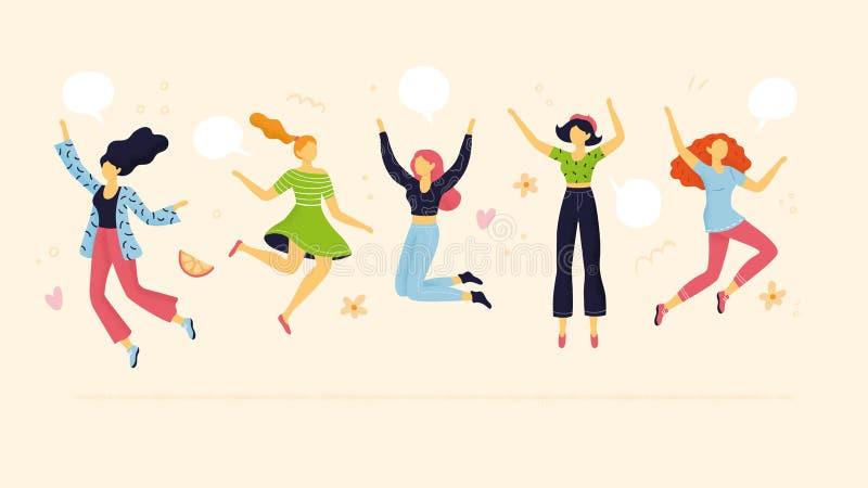 Het abstracte teamleden springen vector illustratie