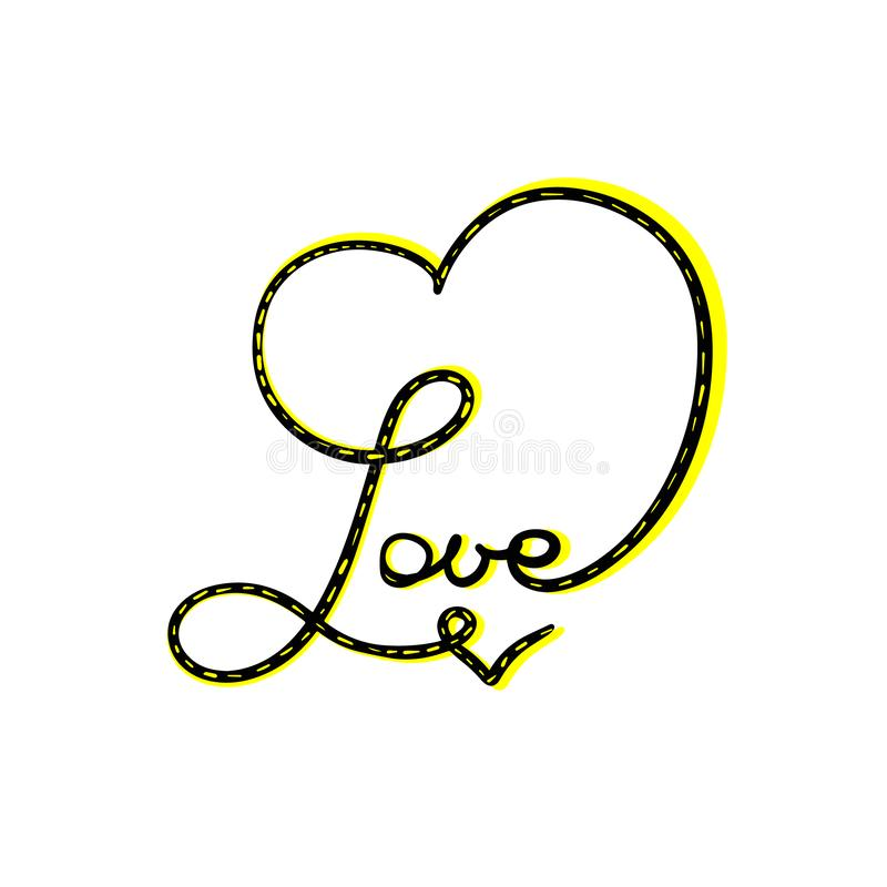 Het abstracte het teken van het Liefdehart van letters voorzien Gele Zwarte Vectorkalligrafieillustratie De hand getrokken juwele stock illustratie