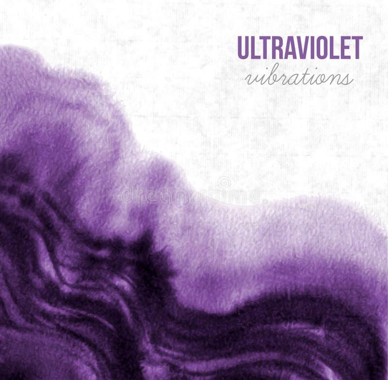 Het abstracte ultraviolette purpere inktwas schilderen Kleur van het jaar 2018 vector illustratie