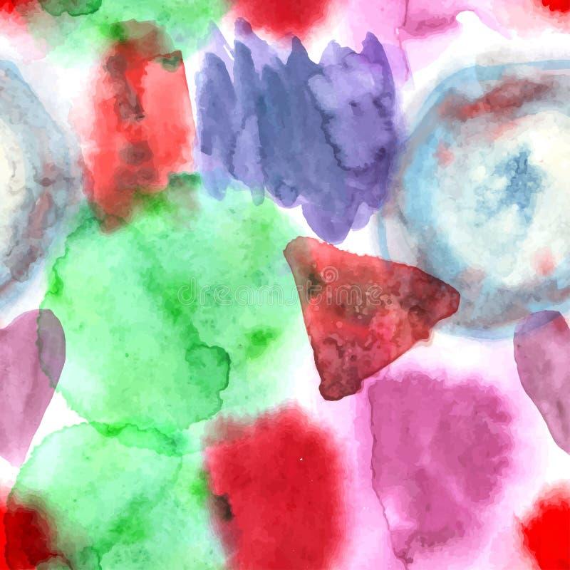 Het abstracte van de de handverf van de waterverfkunst naadloze patroon op witte bac royalty-vrije illustratie